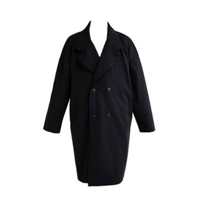 風衣外套中長版翻領大衣-英倫時尚雙排扣純色男外套2色73ip77【獨家進口】【米蘭精品】
