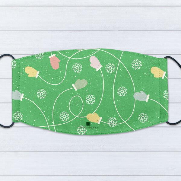[ IHERMI ] 個性口罩 / 底紋聖誕手套 / 愛好蜜 MIT台灣製造好安心 環保染劑使用 極細緻印染技術 0