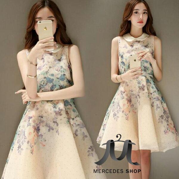 歐根紗無袖花朵洋裝