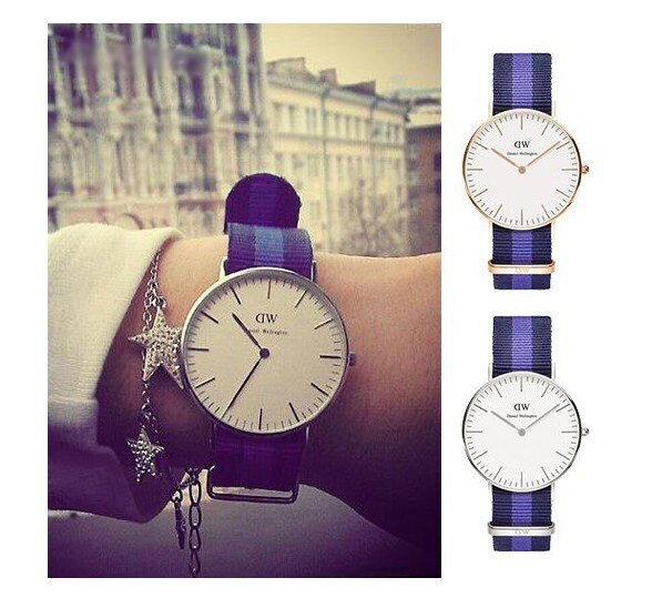 瑞典正品代購 Daniel Wellington 0603DW 銀  尼龍 帆布錶帶 女錶手錶腕錶 36MM 1