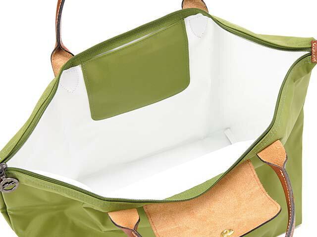 [1623-M號] 國外Outlet代購正品 法國巴黎 Longchamp 長柄 購物袋防水尼龍手提肩背水餃包草綠色 2