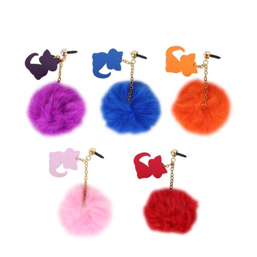 絨毛可愛貓手機防塵塞 吊飾