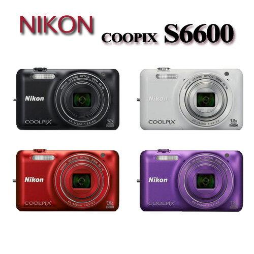 Nikon S6600 12倍變焦翻轉螢幕輕薄數位相機(平輸中文)