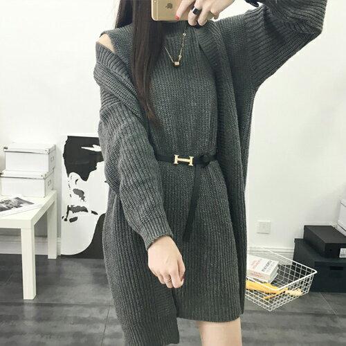 套裝 - 兩件式套裝針織背心裙洋裝外套(附腰帶)【29201】藍色巴黎《4色》現貨 + 預購 1