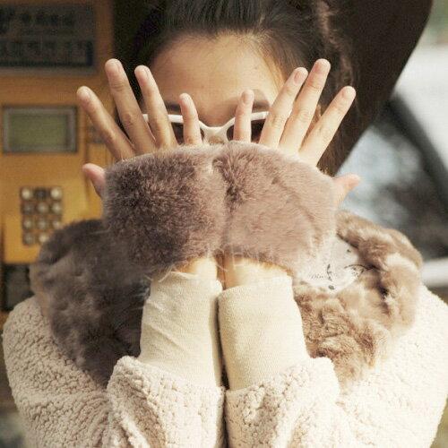 手套 萌毛毛拼接 保暖  露指 手套【PU1130】 BOBI  11/17 0