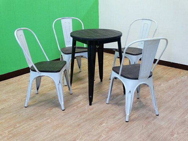 【新生活家具】一桌四椅 黑色 白色 餐桌椅組 工業風 loft 餐椅 餐桌 鐵皮餐椅 鐵皮餐桌 奧莉薇 非 H&D