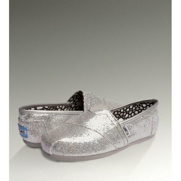【TOMS】經典亮片款平底休閒鞋(銀色)  Sliver Glitter Women's Classics 6