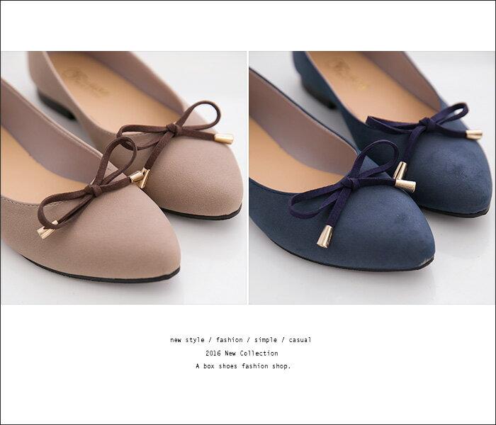 格子舖*【ADW1686】MIT台灣製 超值百搭蝴蝶結 質感絨布 尖頭平底包鞋 娃娃鞋 懶人鞋 3色 2