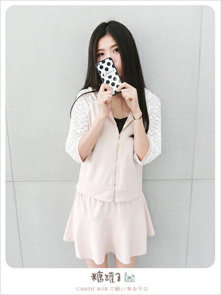 糖罐子布蕾絲袖連帽外套+縮腰短裙→現貨+預購【E36844】 2