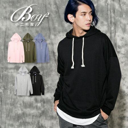 ☆BOY-2☆【PPK86142】連帽大學T 韓版素面抽繩帽T 1