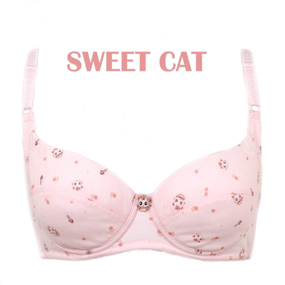 【夢蒂兒】俏皮貓咪。軟鋼圈BCD罩杯少女內衣(粉) 1