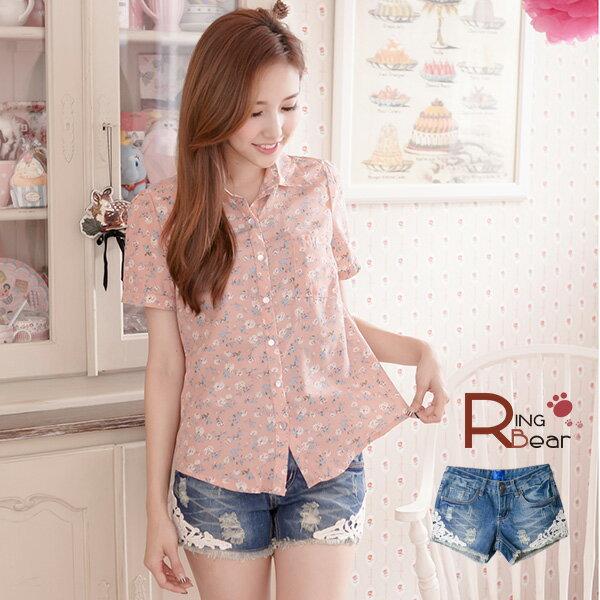 短褲--暢銷設計款浪漫蕾絲牛仔短褲(M-7L)-R152眼圈熊中大尺碼