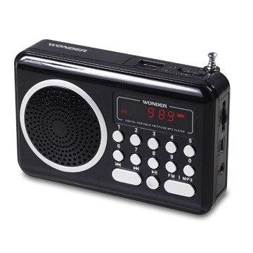WONDER旺德 USB/MP3/FM 隨身收音機音響 WS-P006 (黑/銀色)