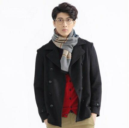 毛呢外套 短款大衣-秋冬修身商務雙排釦男風衣72e34【獨家進口】【米蘭精品】