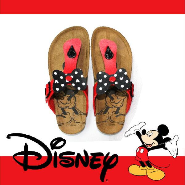萬特戶外運動休閒 - 正版迪士尼勃肯夾腳拖鞋 米妮蝴蝶結夾腳拖鞋 米奇米妮 親子款 (紅色)