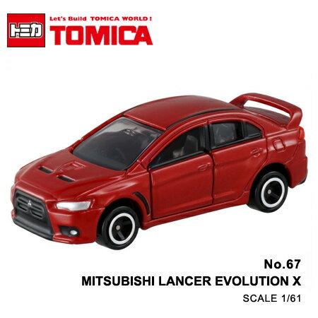 日貨 TOMICA No.67 MITSUBISHI LANCER EVOLUTION X 三菱 真車系列 汽車模型 多美小汽車【N201645】