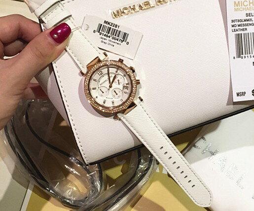 美國Outlet 正品代購 MichaelKors MK 玫瑰金鑲鑽 白色皮帶三環計時手錶腕錶 MK2281 4