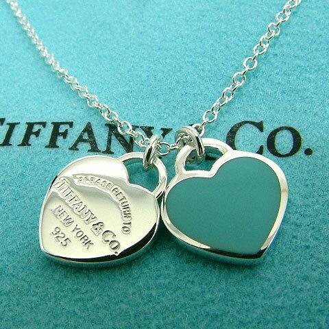 【奢華時尚】Tiffany 心心相映迷你吊牌墜飾925純銀藍瓷項鍊#9881