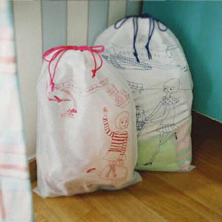 PS Mall 背包客必備法國風情女孩BAG旅行無紡布分類束口收納袋 (7入裝)旅行收納包 【J128】