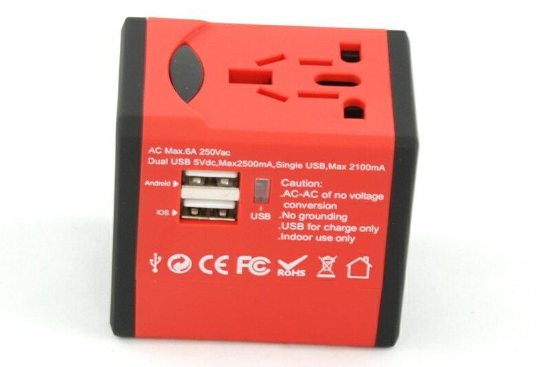 【凱樂絲】USB轉換插座 旅行好幫手 - 方形紅色-英美澳歐四大標準插腳 4