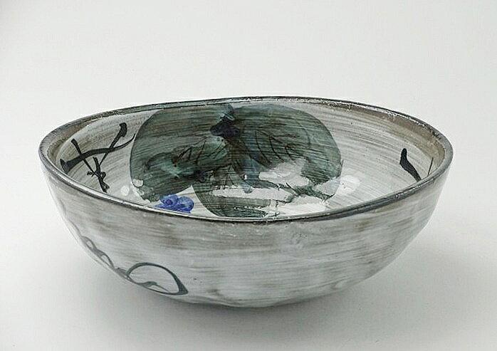 和雅屋 日式餐具   古染ブドウ(黒土)変形鉢(大)   製