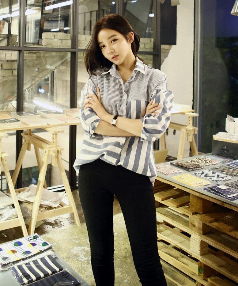 長袖襯衫 獨特粗細條紋不規則拼接寬鬆襯衫 艾爾莎【TAE2414】 2