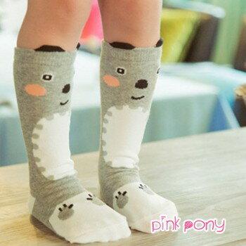 【Pink Pony】棉質灰熊可愛動物造型中筒襪/童襪(0-3歲)