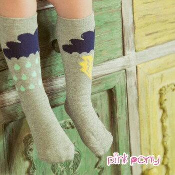 【Pink Pony】棉質可愛下雨閃電中筒襪/童襪(0-3歲)