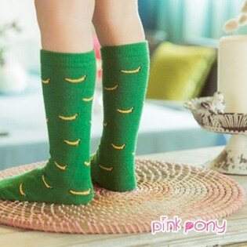 【Pink Pony】棉質可愛綠底香蕉中筒襪/童襪(0-3歲)