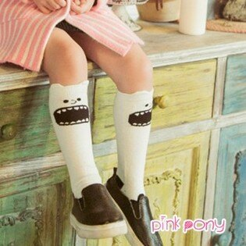 【Pink Pony】棉質可愛白色小惡魔中筒襪/童襪(0-3歲)