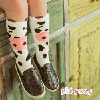【Pink Pony】棉質可愛卡通乳牛中筒襪/童襪(0-3歲)