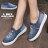 格子舖*【AW105】青春經典時尚牛仔個性刷破 S型貼鑽設計 鬆緊穿拖 布面/帆布鞋 懶人鞋 2色 1