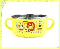 海綿寶寶週邊商品推薦廚房【asdfkitty】海綿寶寶向日葵有把手防燙304不鏽鋼碗-防燙設計- 韓國製
