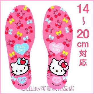 嬰童用品【asdfkitty可愛家】kitty櫻桃兒童鞋墊-可裁減-14到20公分適用-日本正版
