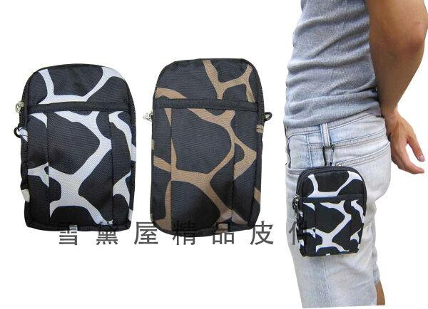 ~雪黛屋~Lian 腰包5吋手機穿過皮帶固定外掛型掛頸隨身物品專用防水尼龍布二層拉鍊主袋口 #1171
