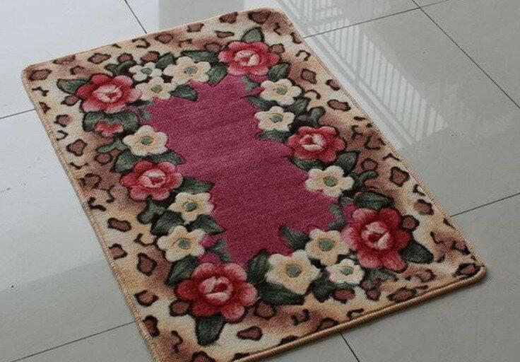 立體剪花 浪漫玫瑰花 40^~60CM 防滑地毯 地墊 飄窗墊 廚房墊 浴室墊 門墊 ~