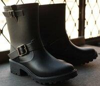 下雨天推薦雨靴/雨傘/雨衣推薦出口日本 日本原單 復古簡約 不退流行 百搭方便 軍裝感雙釦環 時尚防水雨靴/ 雨鞋