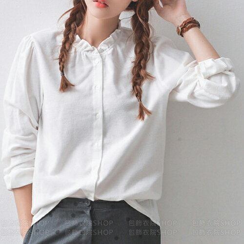 長衫-春裝新款百褶領長袖純棉襯衫 包飾衣院 Y1004 現貨+預購
