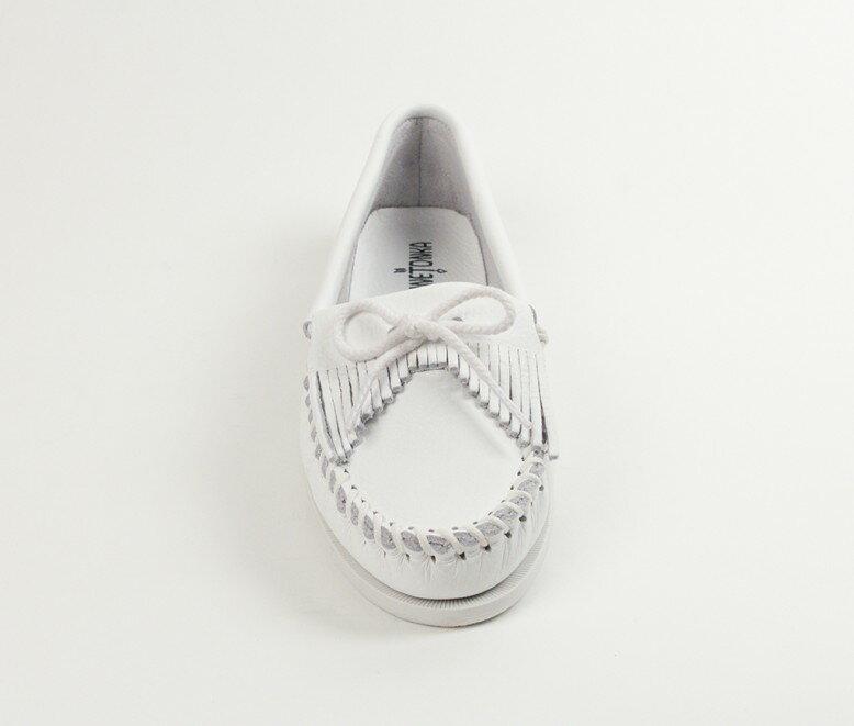 【Minnetonka 莫卡辛】白色 - 經典牛皮流蘇帆船鞋 3