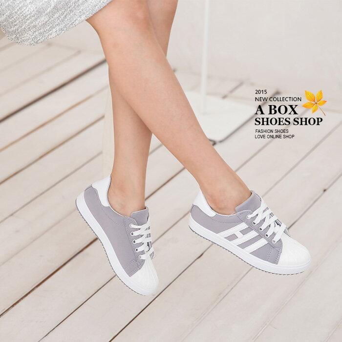 格子舖*【AR2055】嚴選特價學院運動風 貝殼鞋頭基本款百搭繫帶素面舒適帆布鞋 運動休閒鞋 3色 1