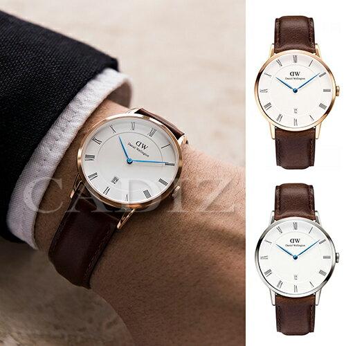 【Cadiz】瑞典正品 Daniel Wellington DW錶  1103DW金1123DW銀 Dapper Bristol 3.8MM 深棕色皮革 羅馬藍色指針日期窗 新款 對錶 情侶錶 男女錶  [代購/ 現貨] 0