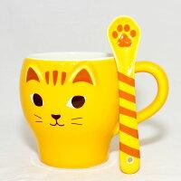 愚人節 KUSO療癒整人玩具周邊商品推薦虎貓 陶瓷馬克杯 附肉球貓蹼勺子 日本帶回