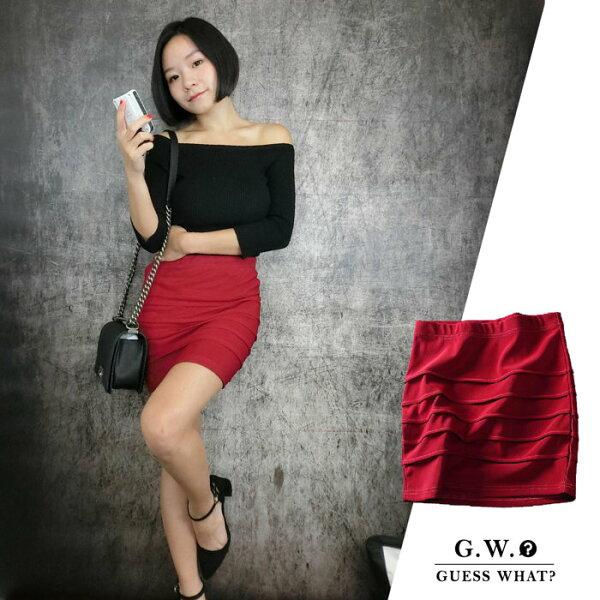 GW【高腰酒紅窄裙】鬆緊腰圍 性感  復古  素面窄裙 性感 窄版 迷你裙 腰間彈性 S-L GUESSWHAT