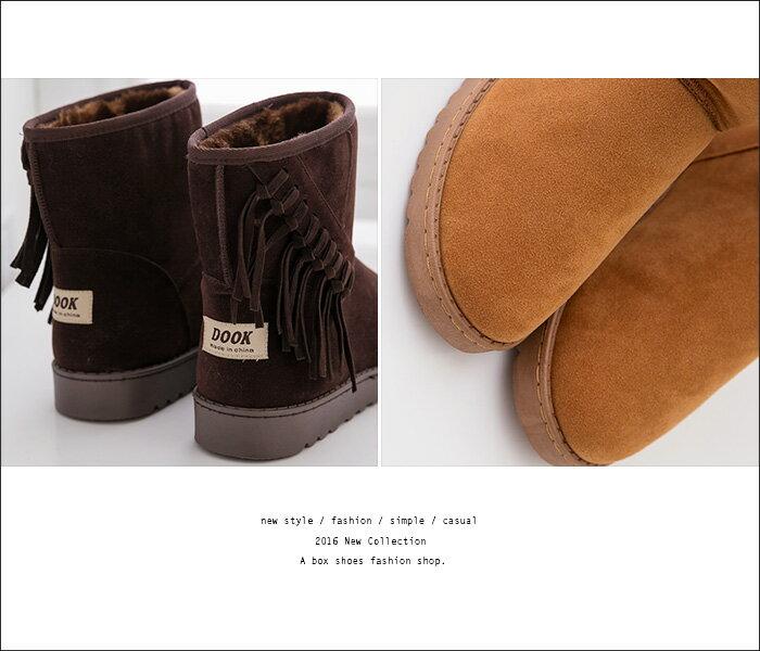 格子舖*【KDLF5352】時尚流蘇內裡柔軟絨毛 保暖麂皮厚挺刷毛 16CM中筒雪靴 雪地靴 3色 2