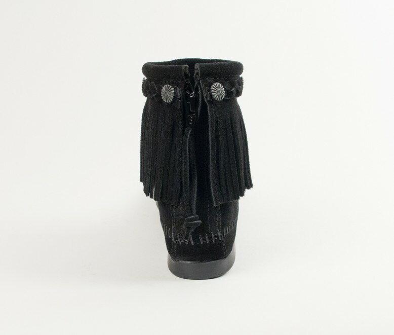 【Minnetonka 莫卡辛】黑色 - 麂皮後拉鍊流蘇莫卡辛短靴 4
