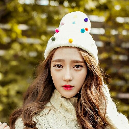 保暖帽子 針織帽 毛帽 甜美彩色糖果毛帽【C0982】艾咪E舖  情侶 配件 0