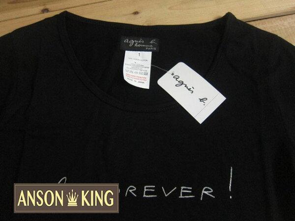 [Anson king]outlet國外代購 agnes b 銀字forever 短袖 圓領 女款 T恤 黑