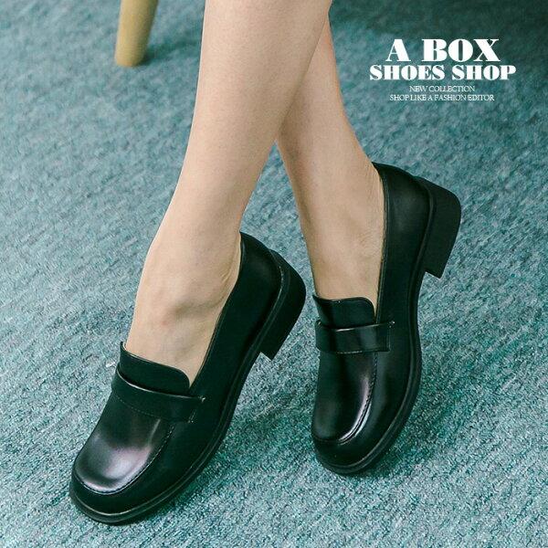 格子舖*【KBCD-017】MIT台灣製 學院風透氣亮皮 3cm粗低跟 學生皮鞋 休閒皮鞋 黑色