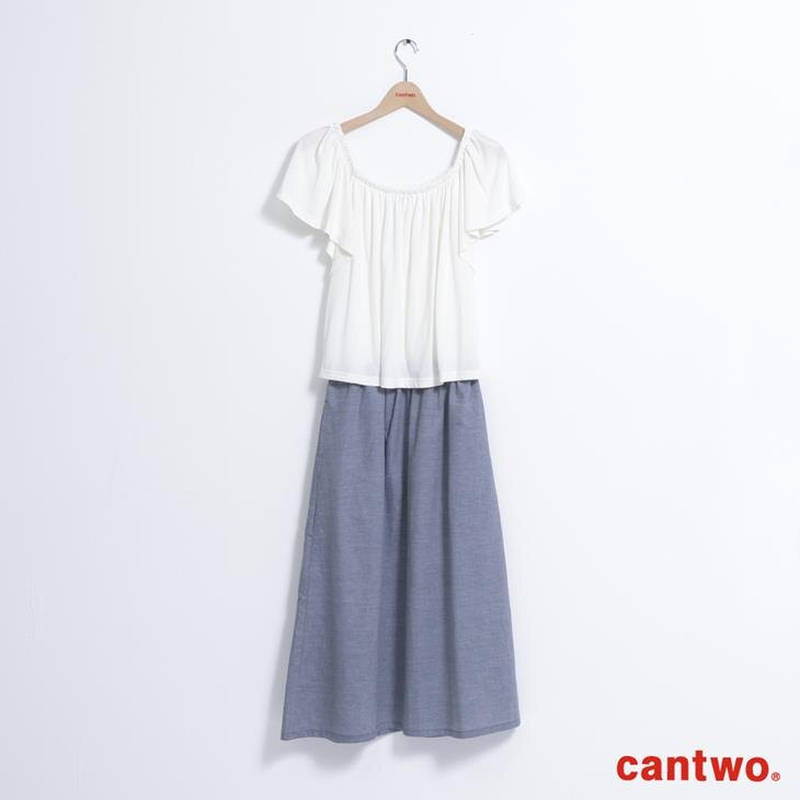 cantwo素面一字領假兩件洋裝(共二色) 6