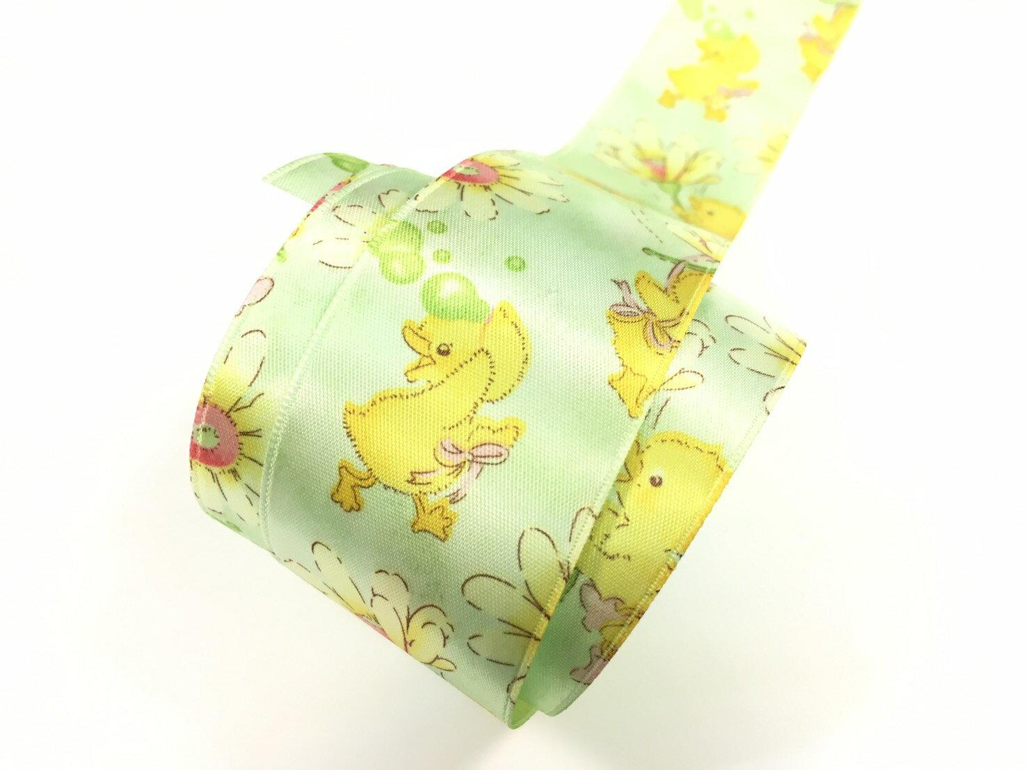 【Crystal Rose緞帶專賣店】黃色小雞單面緞緞帶 38mm 3碼 (4色) 3